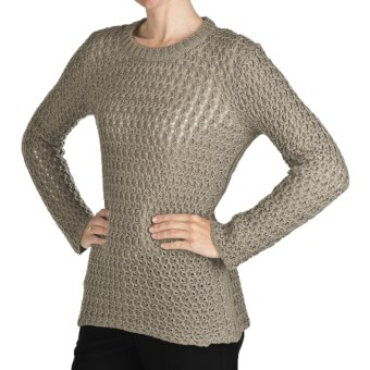 Peregrine by J.G. Glover Wave Stitch Sweater - Peruvian Merino Wool (For Women) in Taupe