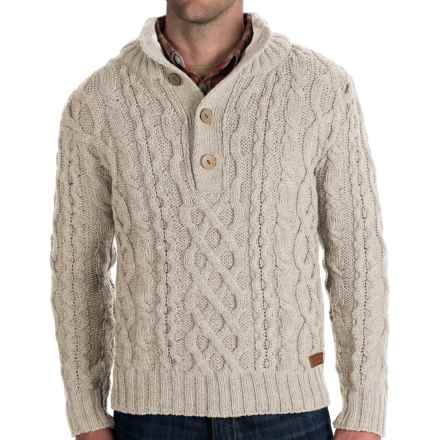 Peregrine Chunky Cable Sweater - Merino Wool (For Men) in Dirty White - Closeouts