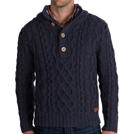 Peregrine Chunky Cable Sweater - Merino Wool (For Men) in Navy
