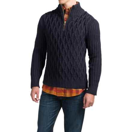 Peregrine Diamond Zip Neck Sweater - Peruvian Merino Wool (For Men) in Navy - Closeouts