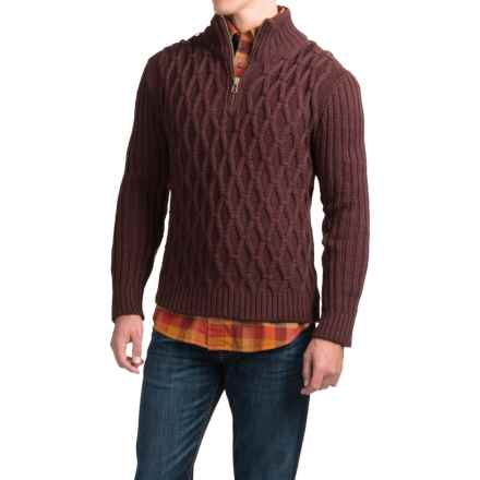 Peregrine Diamond Zip Neck Sweater - Peruvian Merino Wool (For Men) in Shariz - Closeouts