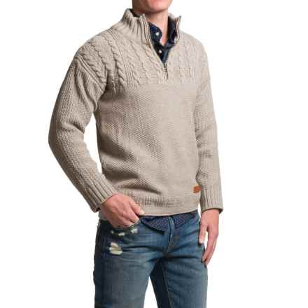 Peregrine Guernsey Sweater - Merino Wool, Zip Neck (For Men) in Beige - Closeouts