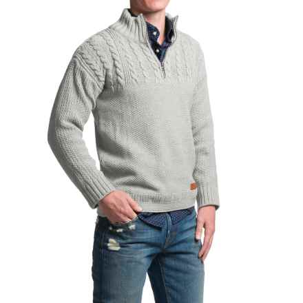 Peregrine Guernsey Sweater - Merino Wool, Zip Neck (For Men) in Light Grey - Closeouts
