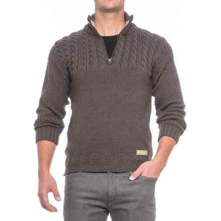 Peregrine Guernsey Sweater - Merino Wool, Zip Neck (For Men) in Mole Grey - Closeouts