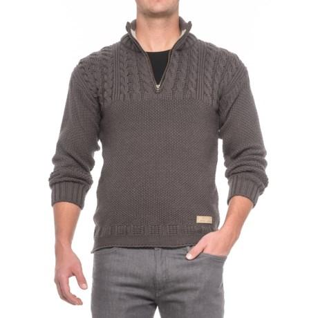 Peregrine Guernsey Sweater - Merino Wool, Zip Neck (For Men) in Mole Grey