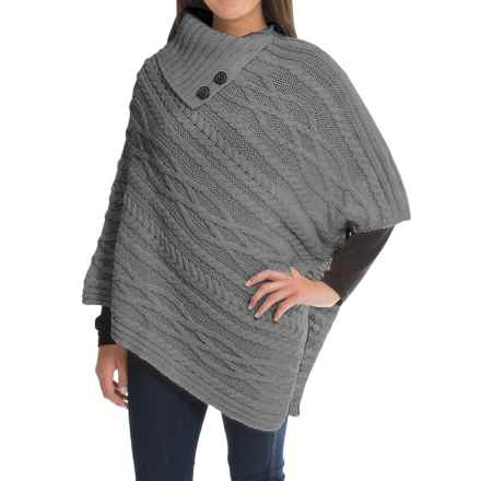 Peregrine Poncho Sweater - Peruvian Merino Wool, Button Neck (For Women) in Light Grey - Closeouts