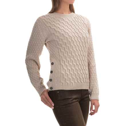 Peregrine Side-Button Sweater - Peruvian Merino Wool (For Women) in Natural - Closeouts