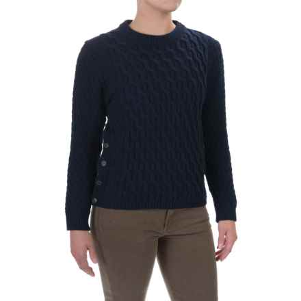 Peregrine Side-Button Sweater - Peruvian Merino Wool (For Women) in Navy - Closeouts