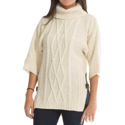 Peregrine Slouch Sweater - Peruvian Merino Wool, 3/4 Sleeve (For Women) in Ecru - Closeouts