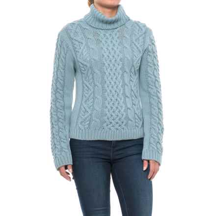 Peregrine Turtleneck Sweater - Peruvian Merino Wool (For Women) in Mist - Closeouts
