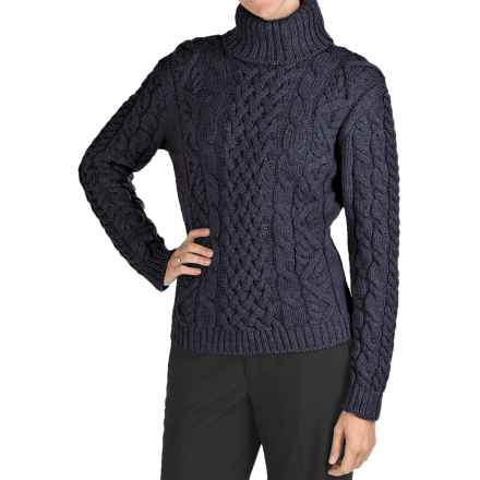 Peregrine Turtleneck Sweater - Peruvian Merino Wool (For Women) in Navy - Closeouts