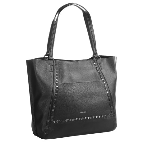 Perlina Stacey Tote Bag - Leather (For Women) in Black