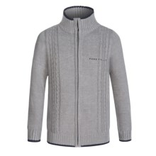 Perry Ellis Cable Sweater - Zip Front (For Big Boys) in Heather Grey - Closeouts