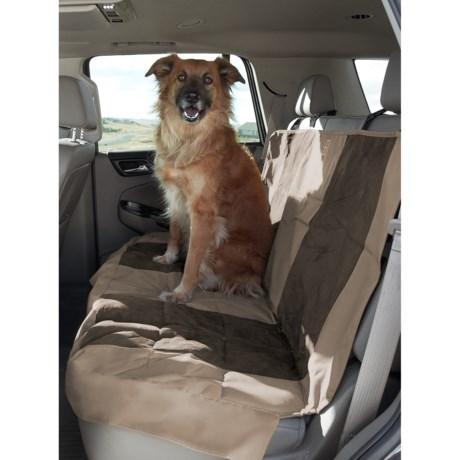 "PetEgo Velvet Multi-Fabric Rear Car Seat Cover - 48x52"" in Tan/Espresso"