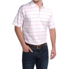 Peter Millar Alex Polo Shirt - Hot Pink Stripe, Short Sleeve (For Men) in White/Hot Pink - Closeouts