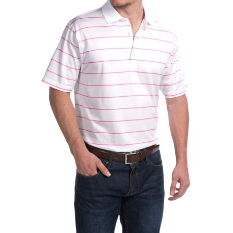 Peter Millar Alex Polo Shirt Hot Pink Stripe, Short Sleeve (For Men)