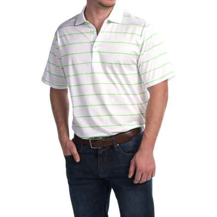 Peter Millar Alex Polo Shirt - Key Lime Stripe, Short Sleeve (For Men) in White/Key Lime - Closeouts