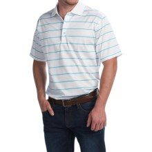 Peter Millar Alex Polo Shirt - Malibu Stripe, Short Sleeve (For Men) in White/Malibu - Closeouts