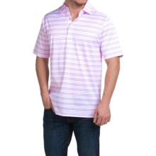Peter Millar Barker Cotton Lisle Polo Shirt - White Stripe, Short Sleeve (For Men) in White - Closeouts