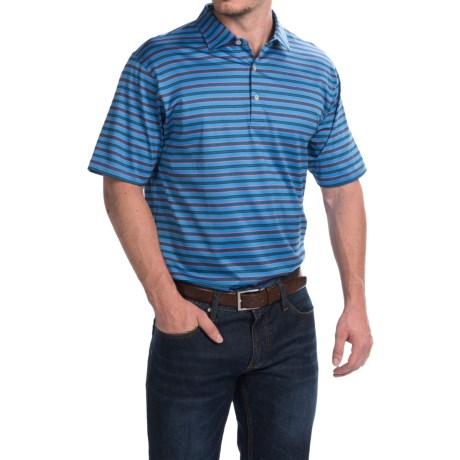 Peter Millar Barker Polo Shirt Liberty Blue Stripe, Short Sleeve (For Men)