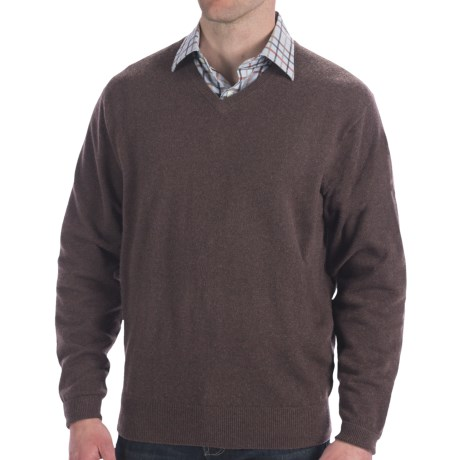 Peter Millar Cashmere Sweater - V-Neck (For Men and Tall Men) in Timber