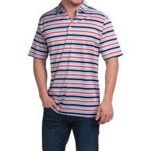 Peter Millar Clark Cotton Lisle Polo Shirt - Multi-StripeG, Short Sleeve in Patriot Navy - Closeouts