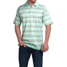 Peter Millar Edwards Cotton Lisle Polo Shirt - Multi-Stripe, Short Sleeve in Grassland - Closeouts