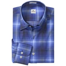 Peter Millar Grid Check Shirt - Long Sleeve (For Men) in Navy - Closeouts