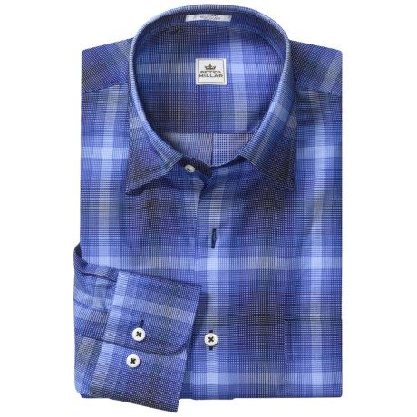 Peter Millar Grid Check Shirt - Long Sleeve (For Men) in Navy