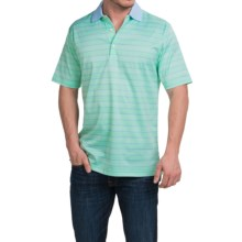 Peter Millar Harvey Cotton Lisle Polo Shirt - Grasslands Stripe, Short Sleeve (For Men) in Grassland - Closeouts