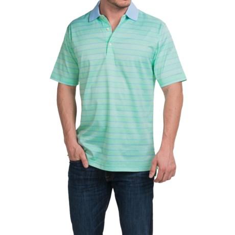 Peter Millar Harvey Cotton Lisle Polo Shirt Grasslands Stripe, Short Sleeve (For Men)