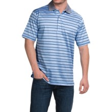 Peter Millar Harvey Cotton Lisle Polo Shirt - Liberty Blue Stripe, Short Sleeve (For Men) in Liberty Blue - Closeouts