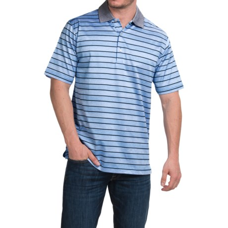 Peter Millar Harvey Cotton Lisle Polo Shirt Liberty Blue Stripe, Short Sleeve (For Men)