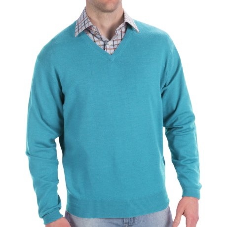 Peter Millar Italian Merino Wool Sweater - V-Neck (For Men) in Breeze