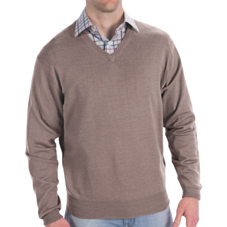 Peter Millar Italian Merino Wool Sweater - V-Neck (For Men) in Granite