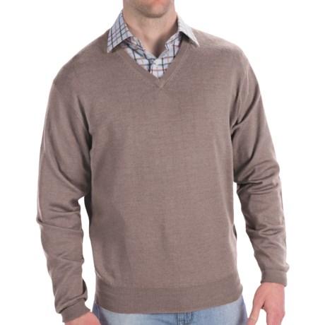 Peter Millar Italian Merino Wool Sweater - V-Neck (For Men) in Granite
