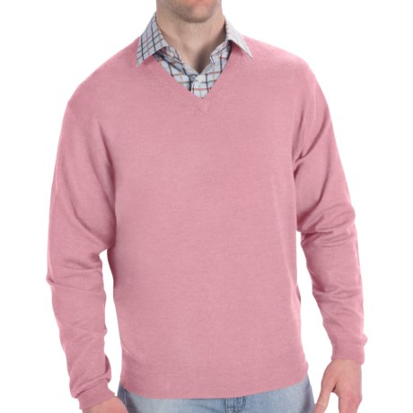 Peter Millar Italian Merino Wool Sweater - V-Neck (For Men) in Retro Pink