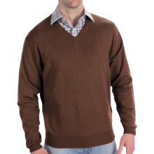 Peter Millar Italian Merino Wool Sweater - V-Neck (For Men) in Wicker - Closeouts