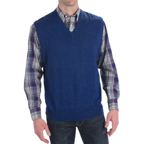 Peter Millar Italian Merino Wool Sweater Vest - V-Neck (For Men) in Indigo