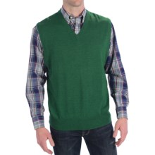 Peter Millar Italian Merino Wool Sweater Vest - V-Neck (For Men) in Juniper - Closeouts