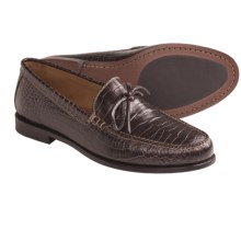 Peter Millar Laddie Tie Moccasins - Croc-Textured Leather (For Men) in Brown - Closeouts