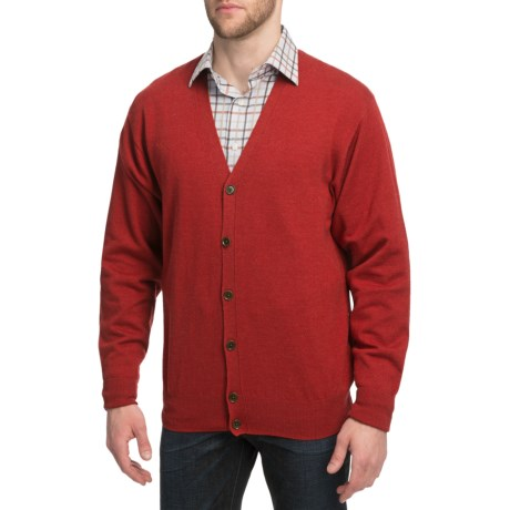 Peter Millar Merino Wool Cardigan Sweater (For Men) in Paprika