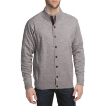 Peter Millar Merino Wool Cardigan Sweater - Suede Elbow Patches (For Men) in Ash - Closeouts