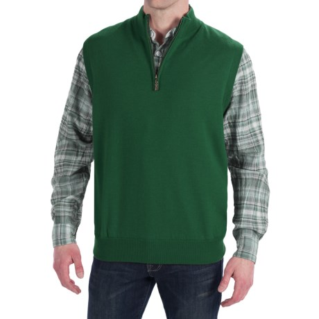 Peter Millar Merino Wool Vest - Zip Neck, Lined (For Men) in Juniper