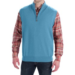 Peter Millar Merino Wool Vest - Zip Neck, Lined (For Men) in Turquoise