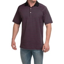 Peter Millar Newberry Cotton Lisle Polo Shirt - Black Stripe, Short Sleeve (For Men) in Black - Closeouts