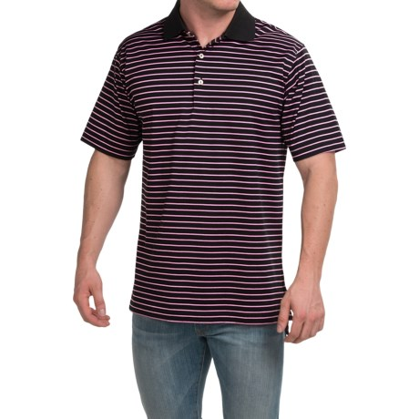 Peter Millar Newberry Cotton Lisle Polo Shirt Black Stripe, Short Sleeve (For Men)