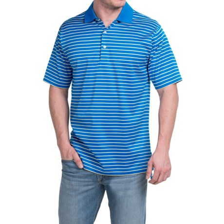 Peter Millar Newberry Cotton Lisle Polo Shirt Patriot Navy Stripe, Short Sleeve (For Men)