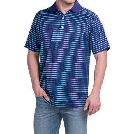 Peter Millar Newberry Cotton Lisle Polo Shirt Reflection Stripe, Short Sleeve (For Men)