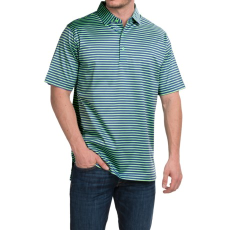 Peter Millar Pat Cotton Lisle Polo Shirt Parade Stripe, Short Sleeve (For Men)